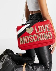 Красная сумка на плечо с ремешком-цепочкой Love Moschino-Красный