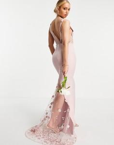 Платье макси нежно-розового цвета с кружевным вставками с объемным цветочным узором Jarlo-Розовый цвет