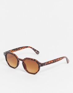 Солнцезащитные очки в шестиугольной черепаховой оправе River Island-Коричневый цвет