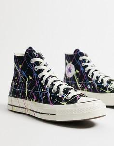 Высокие кроссовки черного цвета с принтом в виде брызг краски Converse Chuck 70 Hi-Черный цвет