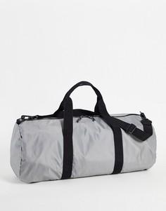 Серая нейлоновая спортивная сумка-цилиндр с ремнем на плечо объемом 37 литров ASOS DESIGN-Серый