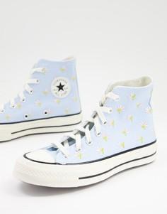 Высокие голубые кроссовки с цветочной вышивкой Converse Chuck 70-Голубой