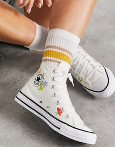 Серо-белые кеды с цветочным принтом Converse Chuck Taylor-Белый