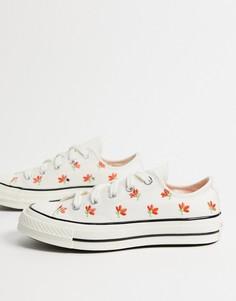 Низкие белые кроссовки с цветочной вышивкой Converse Chuck 70-Белый