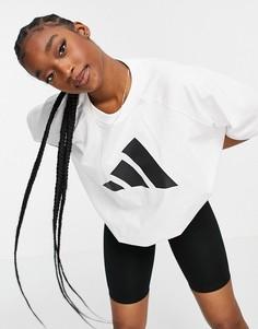Белая футболка с 3 фирменными полосками adidas Training-Белый