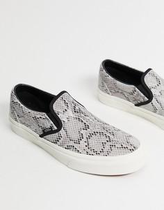 Серые кроссовки-слипоны со змеиным принтом Vans-Серый