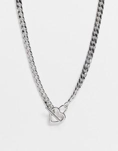 Серебристое короткое ожерелье-цепочка с крупными звеньями и Т-образной застежкой с сердечком ASOS DESIGN-Серебристый