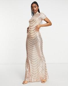 Платье макси цвета розового золота в полоску с высоким воротником и юбкой годе Club L London-Золотистый