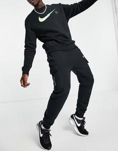 Черные флисовые джоггеры карго с логотипом Nike Zig Zag-Черный цвет