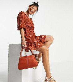 Рыжее чайное платье мини в горошек с запахом спереди и пышными рукавами ASOS DESIGN Petite-Многоцветный