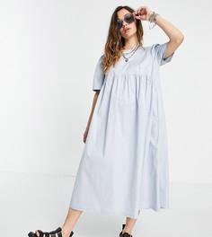 Голубое свободное платье миди с завязкой на спине COLLUSION-Белый