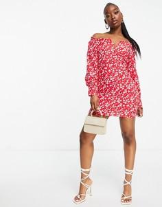 Платье мини со спущенными плечами, разрезом спереди и цветочным принтом Parisian-Многоцветный