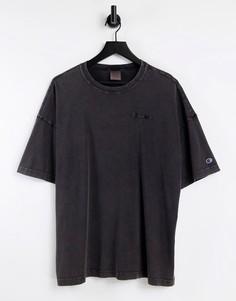 Черная футболка с эффектом кислотной стирки Champion Reverse Weave-Черный цвет