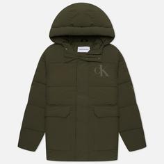 Мужской пуховик Calvin Klein Jeans Recycled Hooded, цвет оливковый, размер L