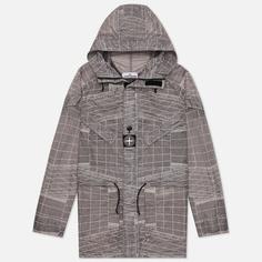 Мужская куртка парка Stone Island Reflective Grid Lamy-TC, цвет серый, размер M