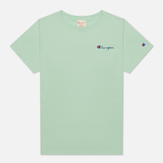 Женская футболка Champion Reverse Weave Small Script & Logo Sleeve Crew Neck, цвет зелёный, размер M