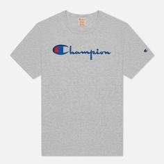Женская футболка Champion Reverse Weave Script Logo Crew Neck, цвет серый, размер M
