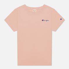 Женская футболка Champion Reverse Weave Small Script & Logo Sleeve Crew Neck, цвет розовый, размер M