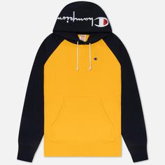 Мужская толстовка Champion Reverse Weave Hoodie Script Bicolor, цвет жёлтый, размер S