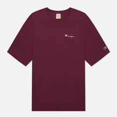 Мужская футболка Champion Reverse Weave Small Script Logo Muscle Fit, цвет бордовый, размер S