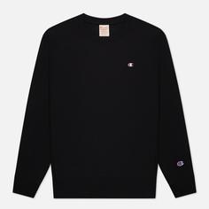 Мужская толстовка Champion Reverse Weave Logo Chest & Sleeve Crew Neck, цвет чёрный, размер M