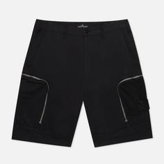 Мужские шорты Stone Island Shadow Project Cargo Black Weaved Cotton Satin, цвет чёрный, размер 48