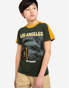 Хаки футболка с принтом Los Angeles для мальчика Gloria Jeans