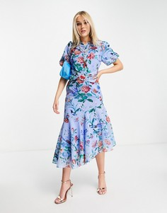 Ярко-синее асимметричное платье миди с поясом, пышными рукавами и маковым принтом Hope & Ivy-Голубой