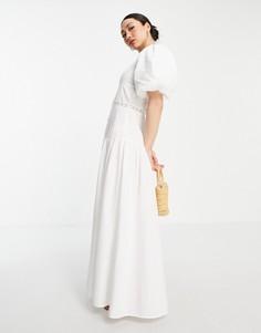 Белое платье макси с защипами и кружевной вставкой ASOS DESIGN-Белый
