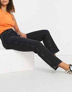 Черные выбеленные джинсы прямого кроя с завышенной талией Wrangler Wild West-Черный цвет