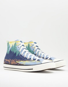 Высокие кроссовки цвета морской волны с принтом национального парка Converse Chuck Taylor All Star-Многоцветный