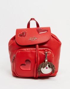 Красный рюкзак с карманом Love Moschino