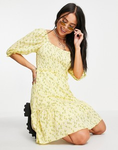 Желтое платье мини с присборенной юбкой, пышными рукавами и мелким цветочным принтом Only-Многоцветный