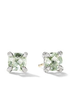 David Yurman серебряные серьги-гвоздики Chatelaine с празолитами и бриллиантами