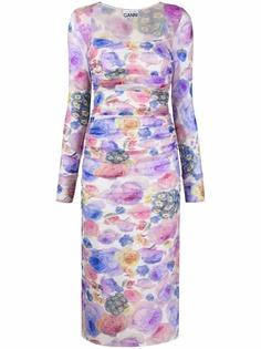 GANNI платье со сборками и цветочным принтом