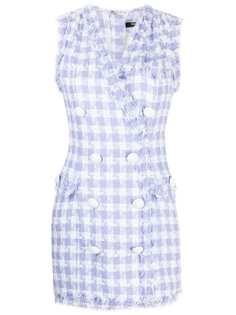 Balmain двубортное твидовое платье мини
