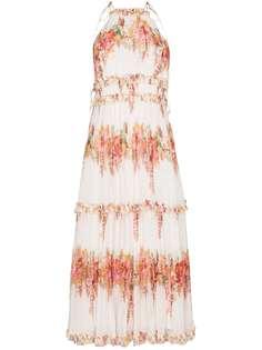 ZIMMERMANN ярусное плиссированное платье Mae