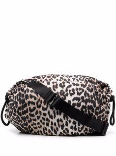 GANNI сумка на плечо с леопардовым принтом и нашивкой-логотипом