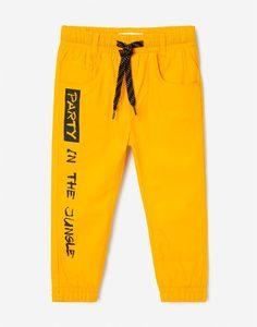 Жёлтые брюки-джоггеры с принтом для мальчика Gloria Jeans