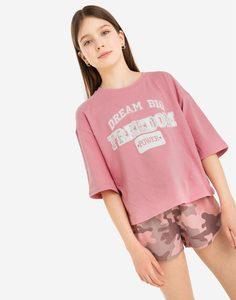 Розовая футболка oversize с принтом Freedom для девочки Gloria Jeans