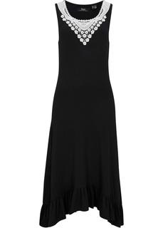 Платье трикотажное с кружевом Bonprix