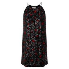 Платье с пайетками Saint Laurent