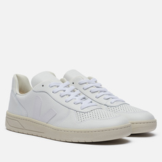 Мужские кроссовки VEJA V-10 Leather, цвет белый, размер 40 EU