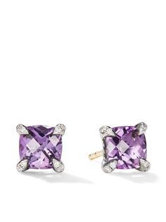 David Yurman серебряные серьги-гвоздики Chatelaine с аметистами и бриллиантами