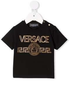 Versace Kids футболка с тисненым логотипом