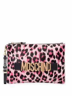 Moschino клатч с леопардовым принтом