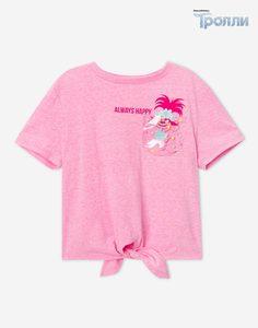 Розовая футболка с завязками и принтом «Тролли» для девочки Gloria Jeans