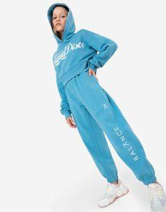 Голубые спортивные брюки с принтом Balance для девочки Gloria Jeans