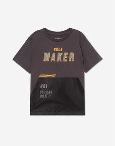 Тёмно-серая футболка с принтом Rule maker для мальчика Gloria Jeans