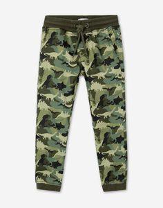 Хаки брюки-джоггеры с динозаврами для мальчика Gloria Jeans